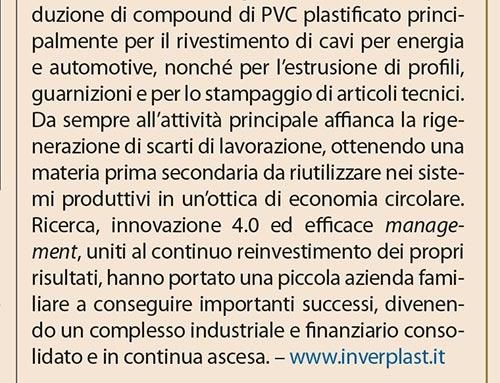 INVERPLAST, gamma completa di compounds di PVC plasticato per cavi ed altre applicazioni